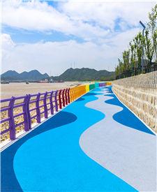 舟山长峙岛彩色透水混凝土跑道