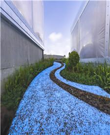 上海平定路胶粘石夜光地坪项目